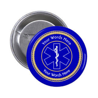 EMT Star of Life Rope Shield Universal Pinback Button
