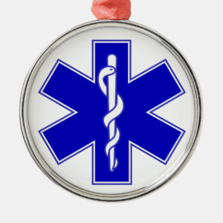 EMT Star of Life Round Metal Christmas Ornament