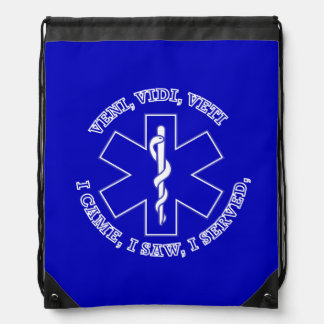 EMT Star Of Life Shield Drawstring Bags