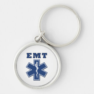 EMT Star of Life Silver-Colored Round Keychain