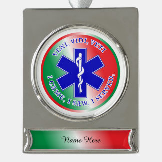 EMT Star of Life Silver Plated Banner Ornament