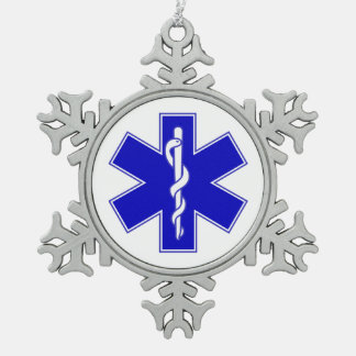 EMT Star of Life Snowflake Pewter Christmas Ornament