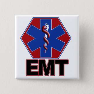 EMT STAR OF LIFE SYMBOL - EMERGENCY MEDICAL TECH PINBACK BUTTON