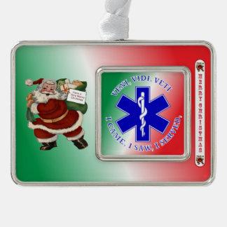 EMT Star of Life VVV Silver Plated Framed Ornament