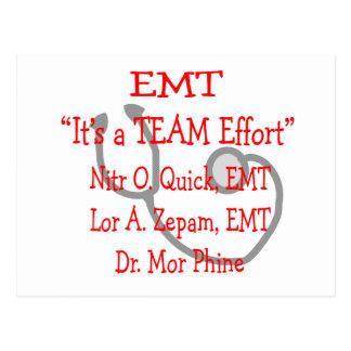 """EMT """"Team Effort""""  Hilarious Postcard"""