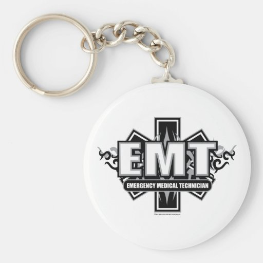 EMT Tribal Basic Round Button Keychain