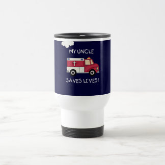 EMT Uncle Saves Lives Tshirts and Gifts 15 Oz Stainless Steel Travel Mug