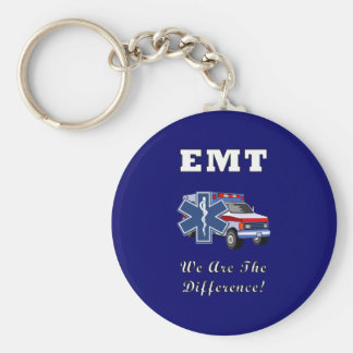 EMT We Are The Difference Basic Round Button Keychain