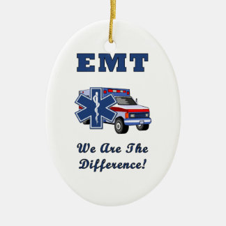 EMT We Are The Difference Double-Sided Oval Ceramic Christmas Ornament