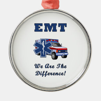 EMT We Are The Difference Round Metal Christmas Ornament