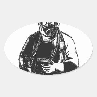 EMT Wearing Hazmat Suit Scratchboard Oval Sticker