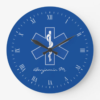 EMT Worker Personal Name Large Clock