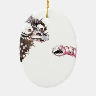 Emu and Worm Ceramic Ornament