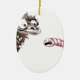 Emu and Worm Double-Sided Oval Ceramic Christmas Ornament