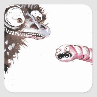 Emu and Worm Square Sticker
