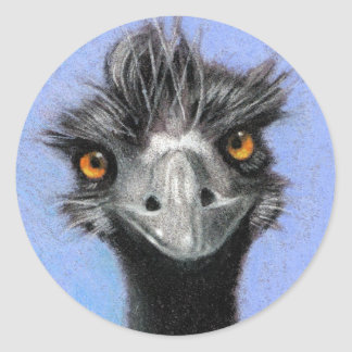 EMU: COLOR PENCIL ART: REALISM CLASSIC ROUND STICKER