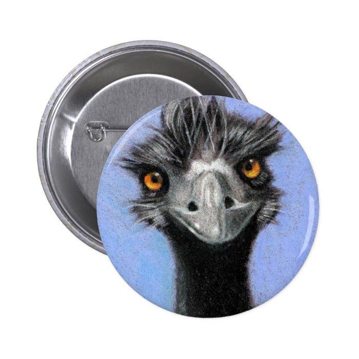 EMU: COLOR PENCIL ART: REALISM PINBACK BUTTON