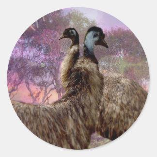 Emu Courtship, Classic Round Sticker