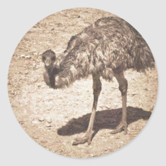 Emu Drawing Classic Round Sticker
