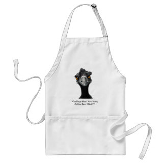 Emu: Funny, Humor: Too Many Coffees: Art Apron