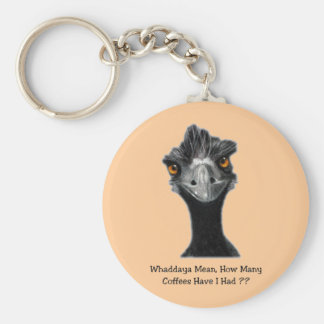 Emu: Funny, Humor: Too Many Coffees: Art Basic Round Button Keychain