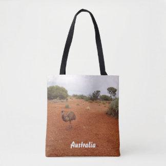 Emu in the desert tote bag