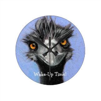 Emu, Ostrich: Funny, Alert: Wake Up Time: art Round Clock