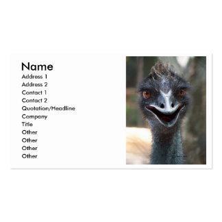 Emu saying HI! Open beak big brown eyes picture Business Card