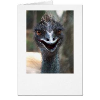 Emu saying HI! Open beak big brown eyes picture Card