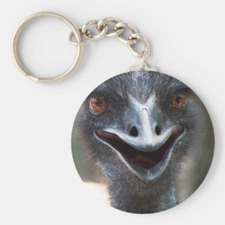 Emu saying HI! Open beak big brown eyes picture Keychain