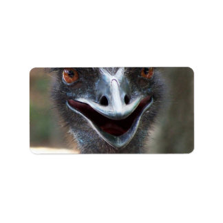 Emu saying HI! Open beak big brown eyes picture Personalized Address Label