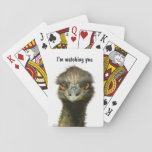 """Emu Watching You Playing Cards<br><div class=""""desc"""">A funny deck of playing cards with an intense looking emu on the back saying &quot; I&#39;m watching you &quot;.</div>"""