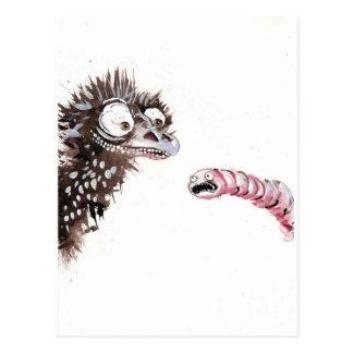 Emu y gusano postales