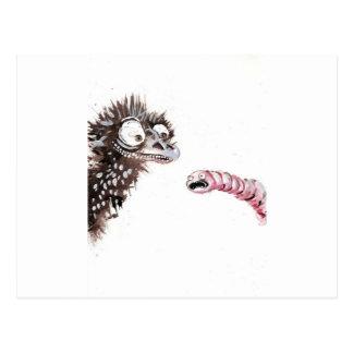 Emu y gusano tarjeta postal