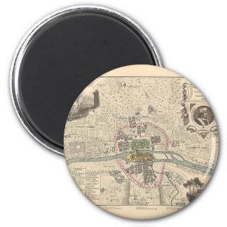 En 1180 de París de 1858 mapas - Francia Imán Redondo 5 Cm