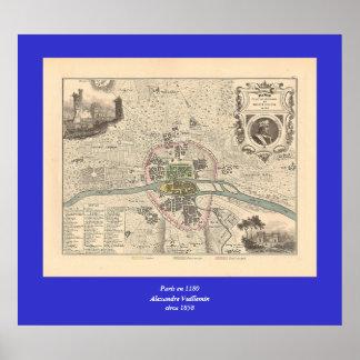 En 1180 de París de 1858 mapas - Francia Poster