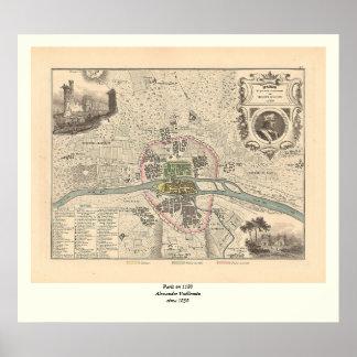 En 1180 de París de 1858 mapas - Francia Posters