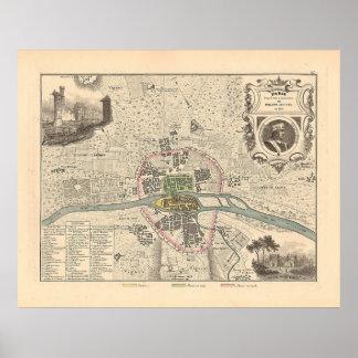 En 1180 de París de 1858 mapas - Francia Impresiones