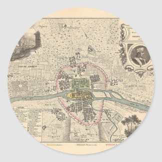 En 1180 de París de 1858 mapas - Francia Etiquetas Redondas