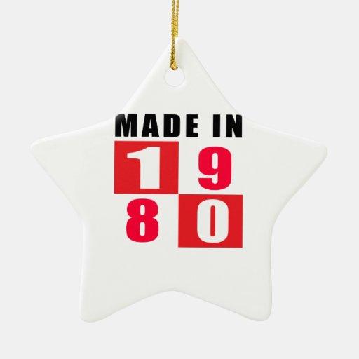 En 1980 diseños hechos del cumpleaños adorno de cerámica en forma de estrella