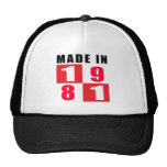 En 1981 diseños hechos del cumpleaños gorras