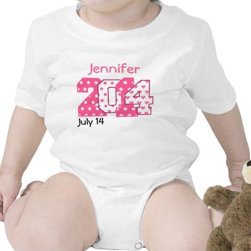 En 2014 números grandes llevados rosados y V02 bla Camiseta