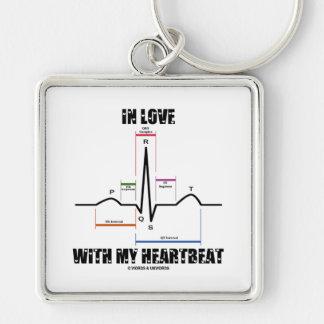 En amor con mi latido del corazón (electrocardiogr llavero cuadrado plateado