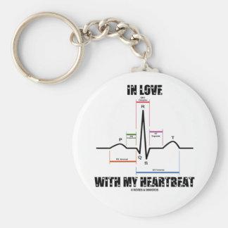 En amor con mi latido del corazón (electrocardiogr llavero redondo tipo pin