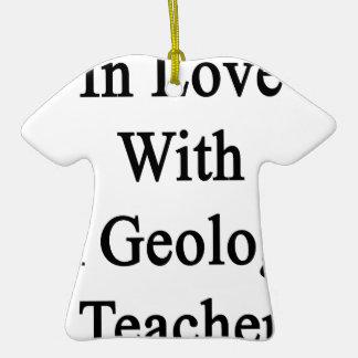 En amor con un profesor de la geología adorno de cerámica en forma de playera
