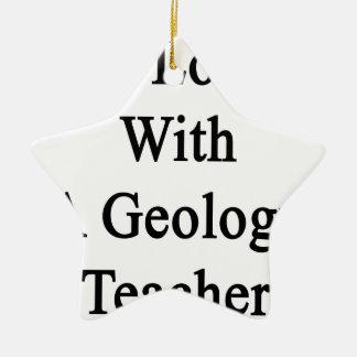 En amor con un profesor de la geología adorno de cerámica en forma de estrella