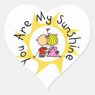 En amor usted es mi sol pegatina en forma de corazón