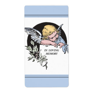 En ángel cariñoso del vintage de la memoria, etiqueta de envío