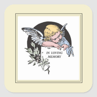 En ángel cariñoso del vintage de la memoria, pegatina cuadrada