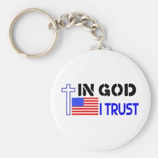En bandera y cruz de la confianza de dios I Llavero Redondo Tipo Pin